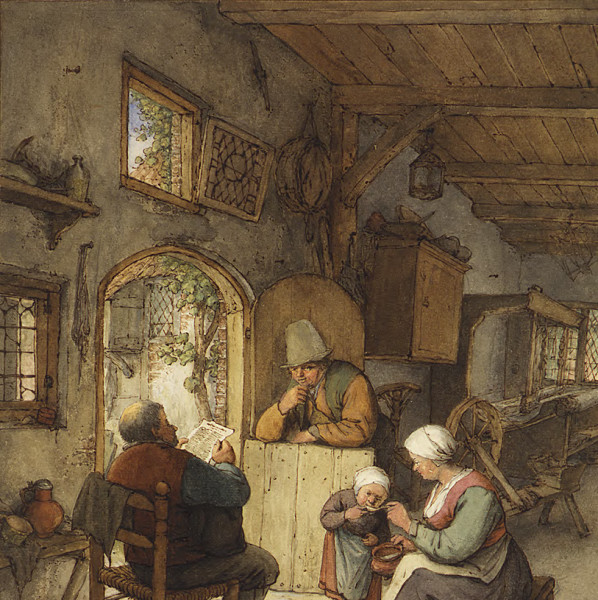 Reading the News at the Weaver's Cottage by Adriaen van Ostade