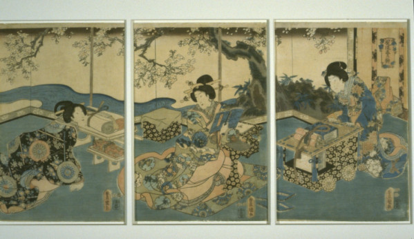 Three women reading by Kunisada