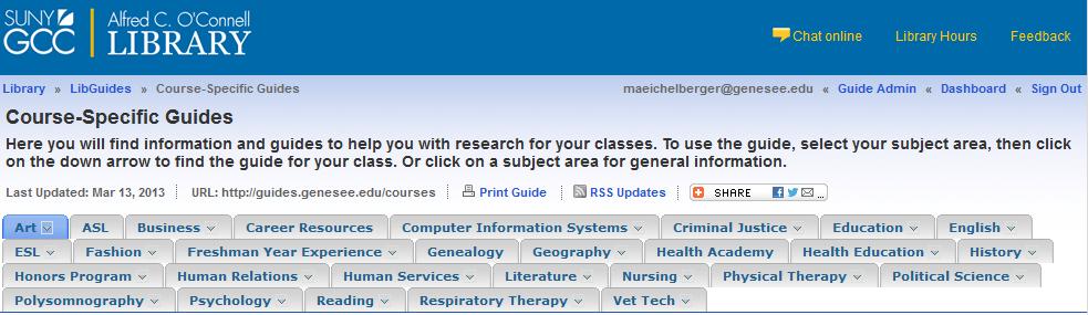 courseguide screenshot