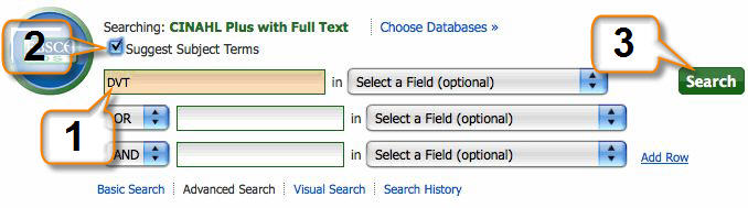Cinahl screenshot showing how to find subjects