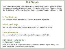 See examples of in text citations, reference page citations and paper formatting in MLA style