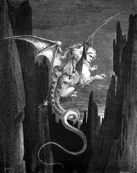 Engraving of a demon