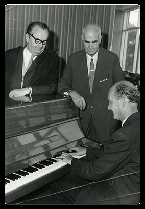 James Auchmuty, D.L McLarty and Brin Newton-John playing the piano, 1961, University of Newcastle, NSW, Australia