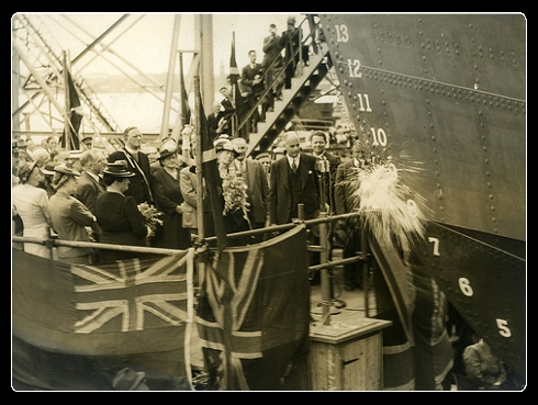 Launch of the first merchant vessel at the State Dockyard