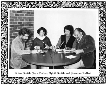 Brian Smith, Jean Talbot, Sybil Smith and Norman Talbot broadcasting a reading of Lewis Carroll's Alice in Wonderland