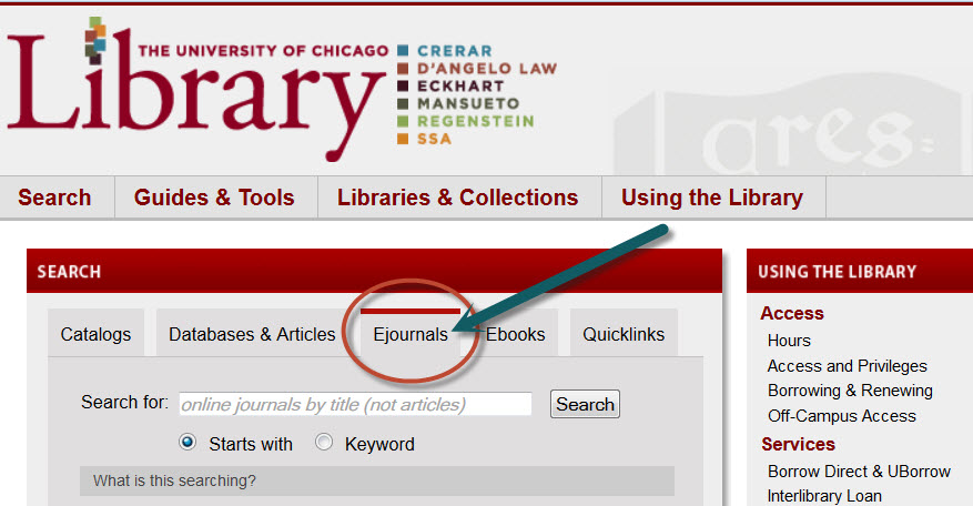 Image of Ejournals link on Library home page.