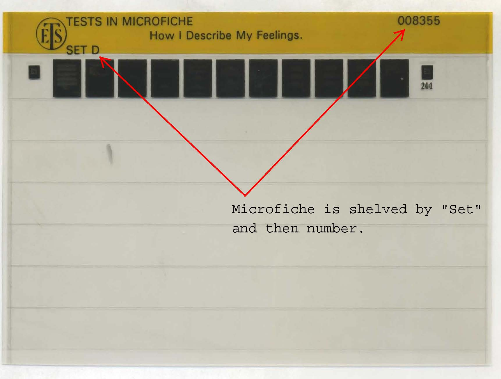 Photograph of microfiche showing location of Acronyms letter and call number.