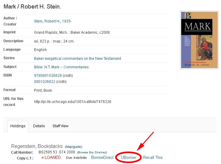 UBorrow in the Library Catalog