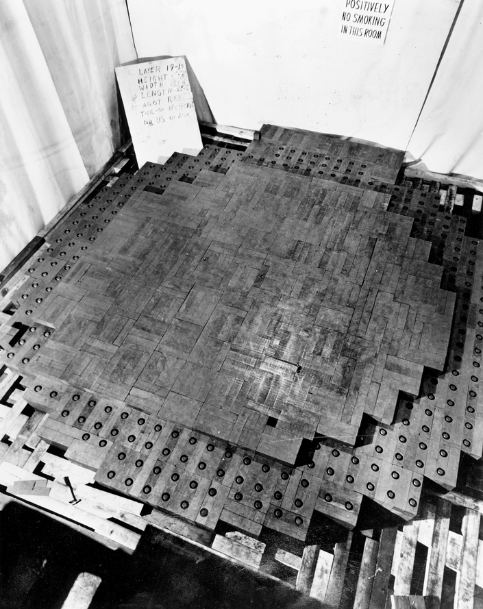Photo of one layer of nuclear pile.  Image credit Special Collections Research Center, University of Chicago Library