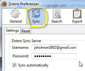 Zotero - account syncing one