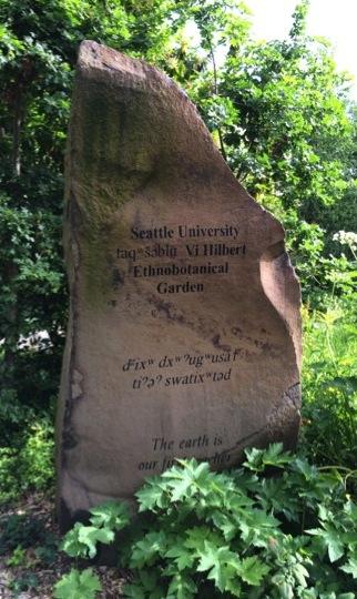 "Plinth in the taqwsheblu Vi Hilbert Ethnobotanical Garden that reads ""Seattle University taqᵂšǝblu Vi Hilbert Ethnobotanical Garden, dᶻixᵂ dxᵂɁugᵂusaϮ tiɁǝɁ swatixᵂtǝd, The earth is our first teacher"""
