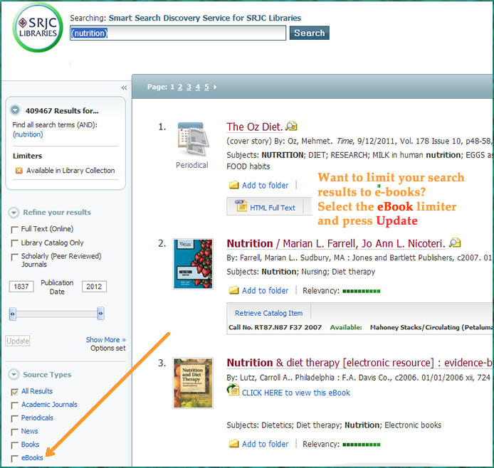 Limiting to e-books in Smart Search