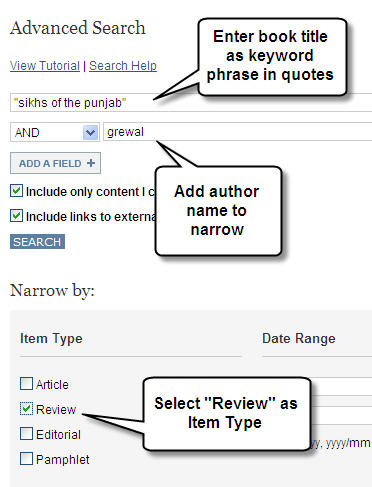 jstor book review search