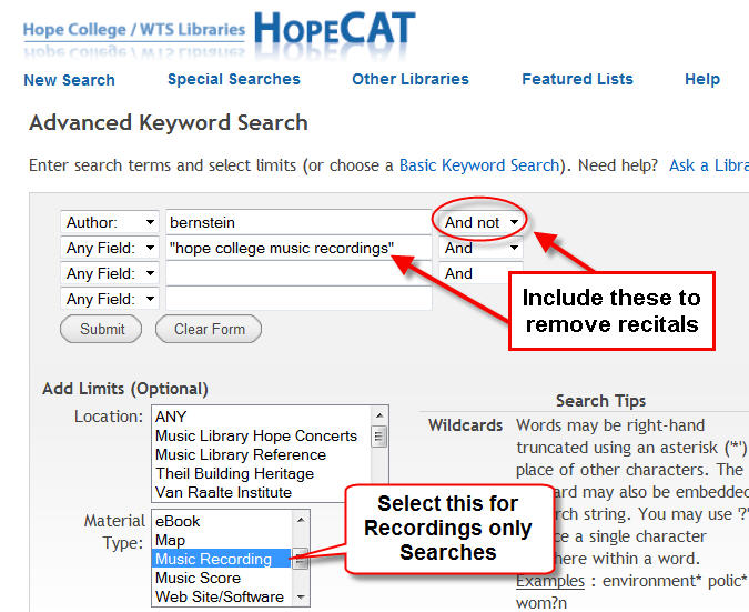 HopeCat Search for nonHope recordings