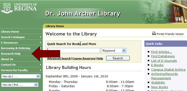 From the Library homepage