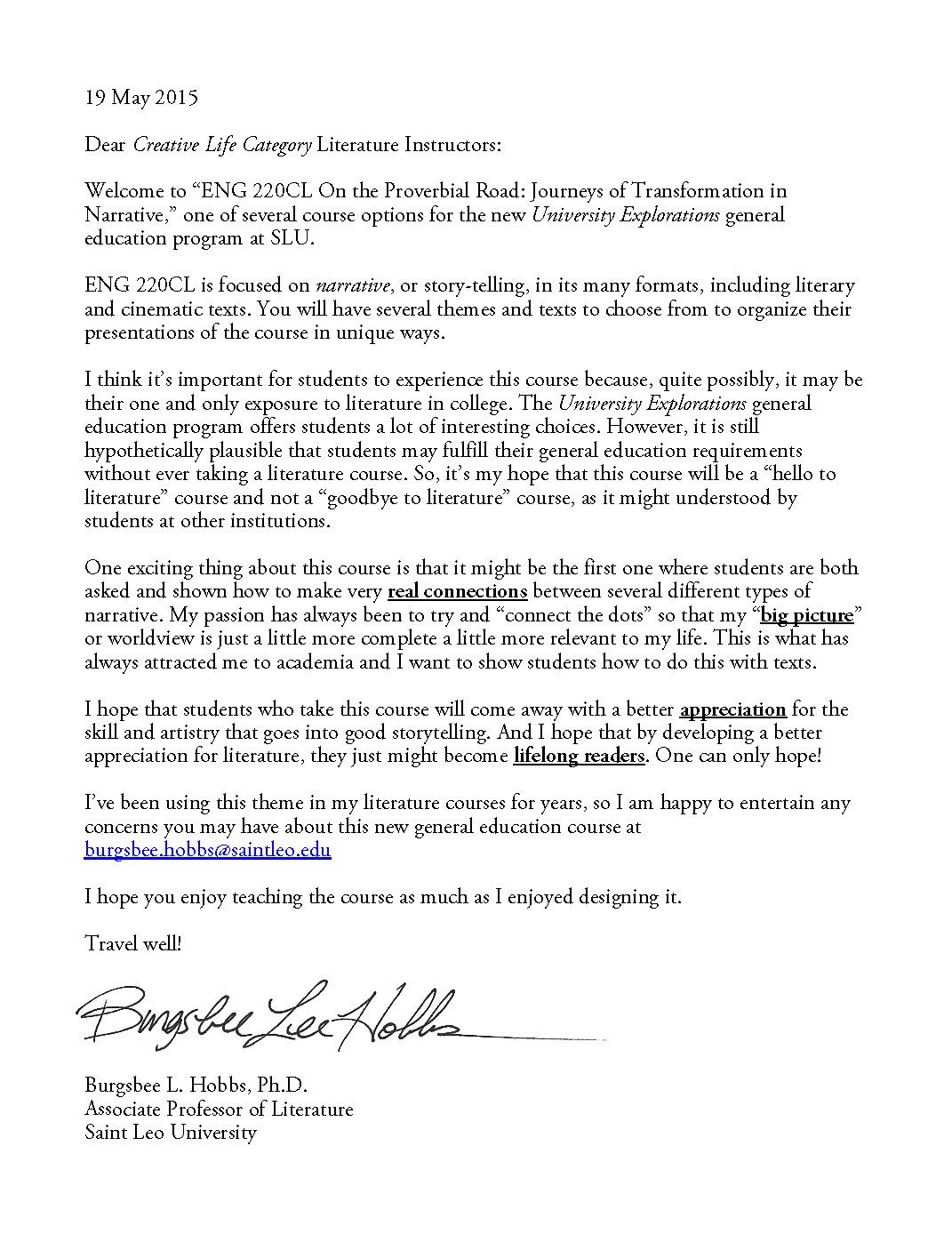 Dr. Hobbs's Letter to ENG 220CL Instructors