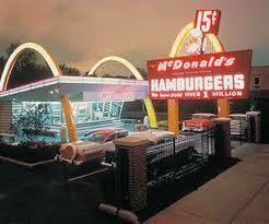 retro MacDonald's: hamburgers fifteen cents