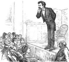 Cartoon depicting Mark Twain lecturing