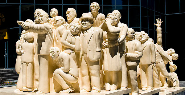 illuminated crowd sculpture