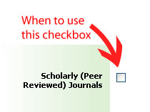 When to use the scholarly checkbox in a database search