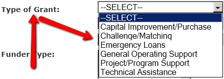 """Screenshot of Colorado Grants Guide website. Arrows point to """"Type of Grant"""" label and a drop-down menu listing Select, Capital Improvement/Purchase, Challenge/Matching, Emergency Loans, General Operating Support, Project/Program Support, and Technical Assistance."""