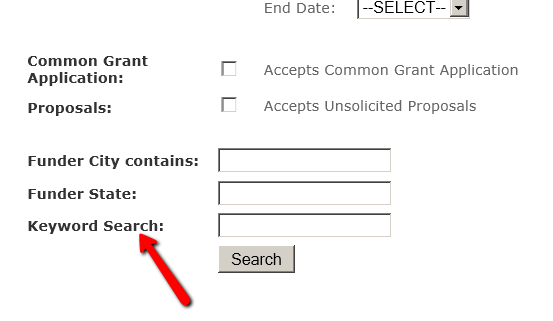 """Screenshot of Colorado Grants Guide. Arrow points at """"Keyword Search"""" to highlight how to search."""