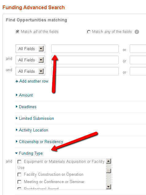 Screenshot of Colorado Grants Guide Funding Advanced Search page. One arrow points at an empty keyword box, and a second arrow points at the Funding Type menu.