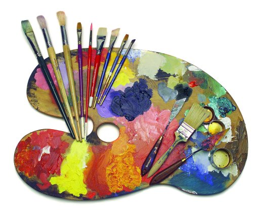 Artist paint board with brushes