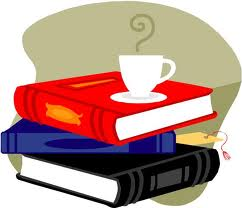 Stack of books with steam cup on top