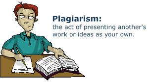 Illustration of student writing and reading book with a caption for the definition of plagiarism which is the act of presenting another's work or ideas as your own