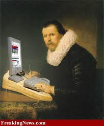 Image of a historical looking man writing on a modern computer