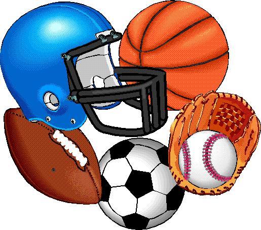 Football, baseball, basketball, soccer ball, football helmet, catcher's mitt with ball