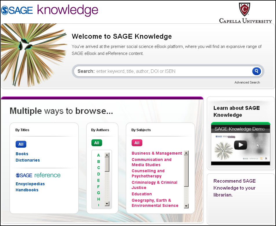 Sage Knowledge home page