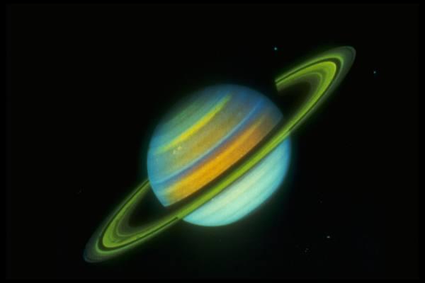 Planet Saturn, taken by Voyager 2. Date taken:August 25, 1981