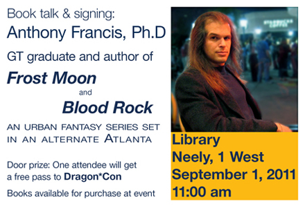 Book talk announcement - Library, Neely 1 West, Sep 1, 2011