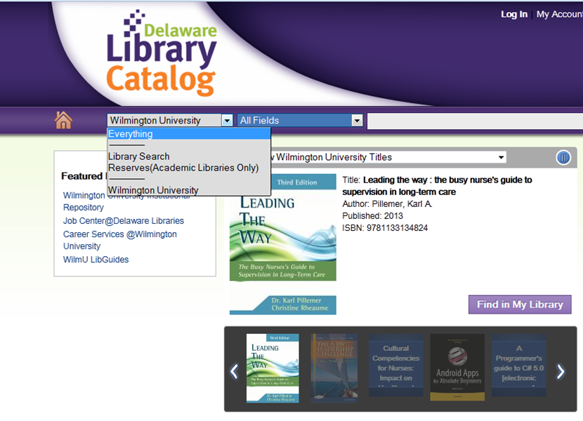 Searching Delaware Library Catalog holdings for other libraries