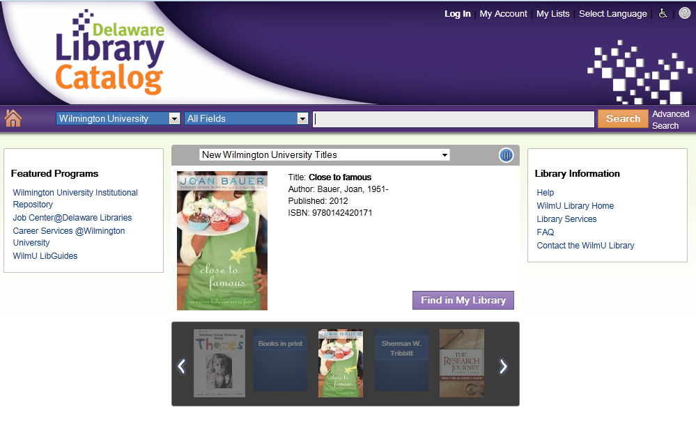 Searching the Delaware Library Catalog