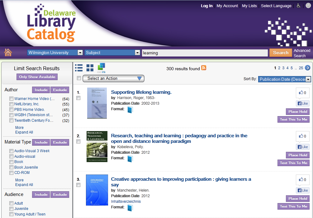 Search results from Delaware Library Catalog