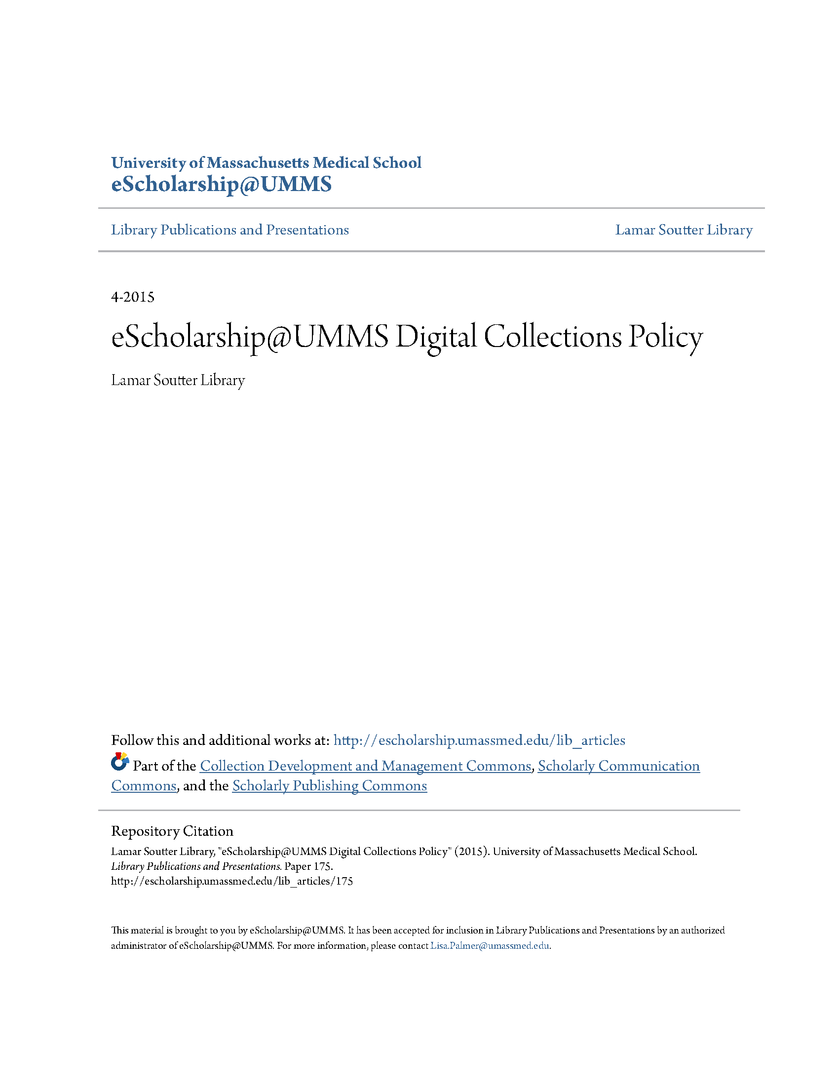 eScholarship@UMMS Digital Collections Policy