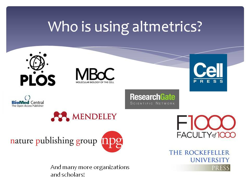 Who is using altmetrics from slide presentation