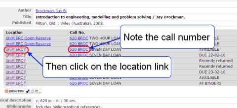 A screenshot of a library catalogue record highlighting the call number and location link.