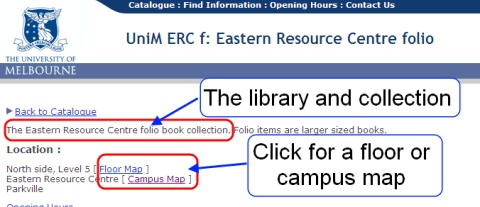 A screen shot of the page showing the location of an item in the library.
