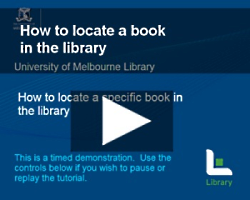 Screen shot from a video tutorial on how to find a specific book in the library.