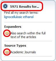 """""""Results"""" dropdown"""