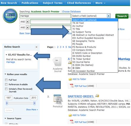 EBSCOhost Academic Search Premier advanced search menu with options
