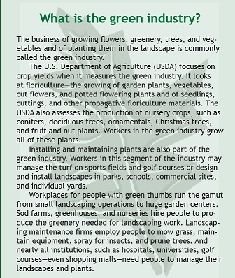 "page from the ""Careers in Green Industry"""