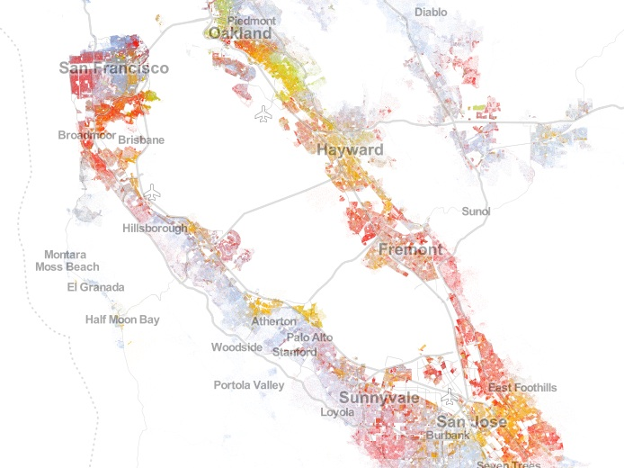Racial dot map snapshot for SF Bay area