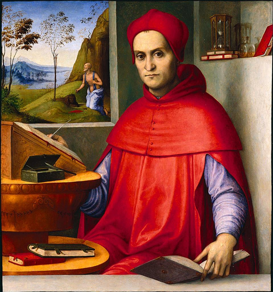 Lorenzo Costa Portrait of a Cardinal in his Study circa 1519