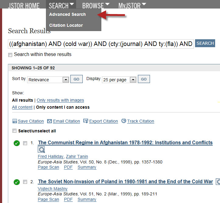 JSTOR Search results