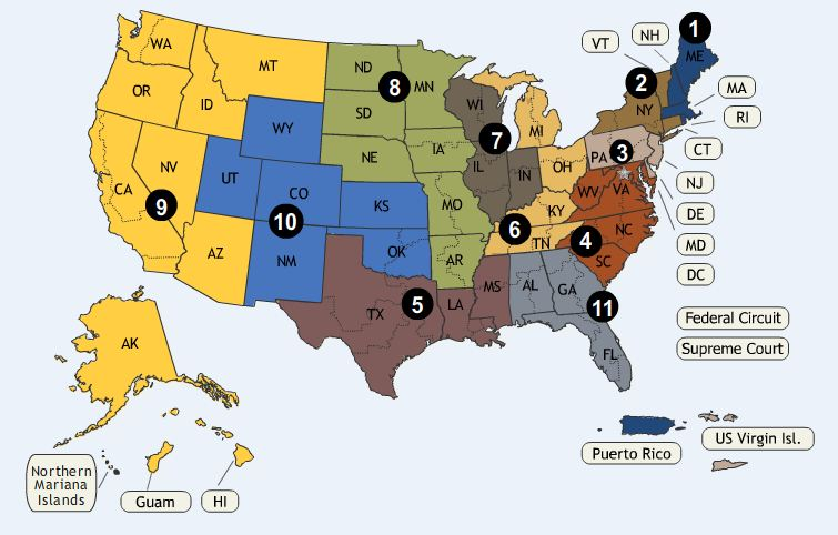 Map of Circuit Courts of Appeals